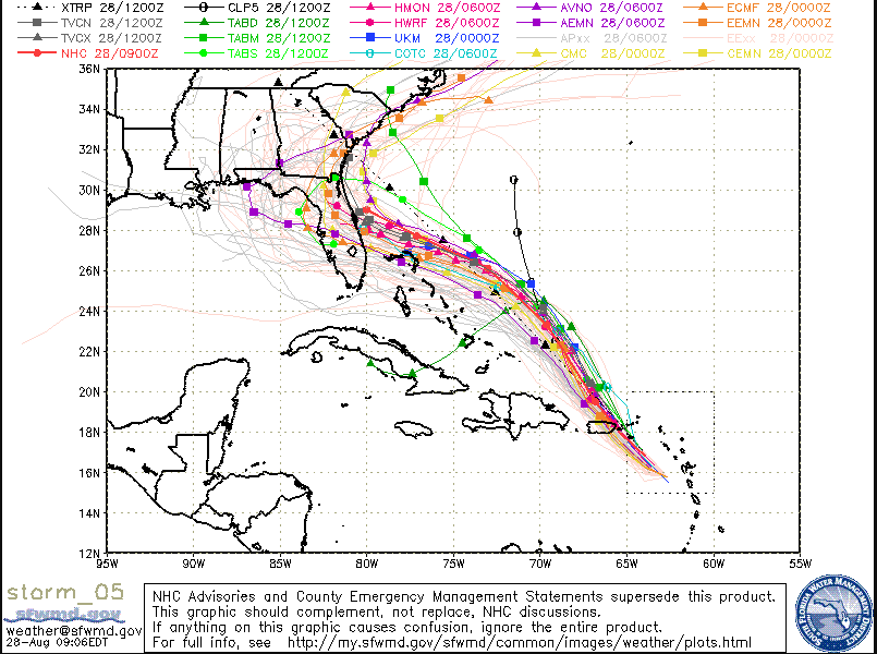 Many computer forecast models predict landfall in Florida later in the weekend, but a turn to the north or northeast before reaching Florida is also a possible outcome. Courtesy sfwmd.gov