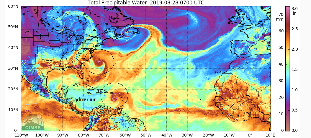 Dry air in the Caribbean Sea has not had an impact on the intensity of Tropical Storm Dorian; courtesy CIMSS/University of Wisconsin, NOAA