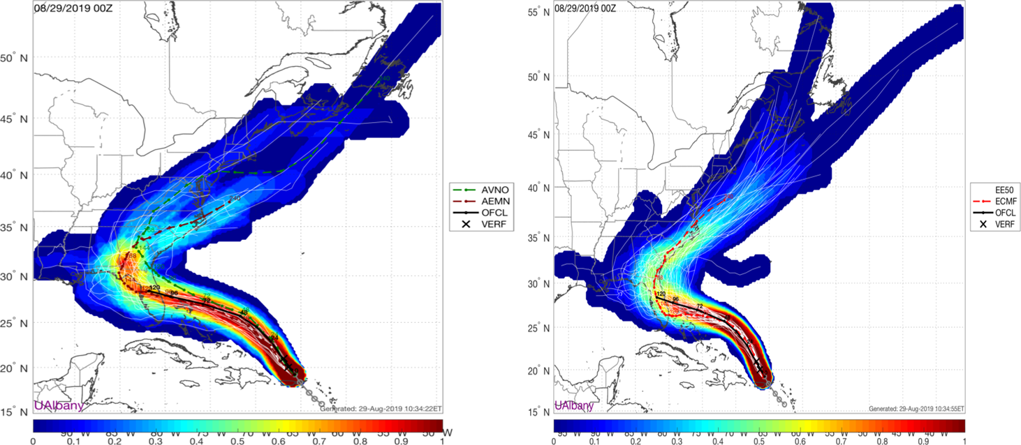 GFS ensemble (left) and Euro ensemble (right) forecasted tracks of Hurricane Dorian bring it into east-central Florida and then shift it northward and ultimately northeastward. Courtesy NOAA, ECMWF