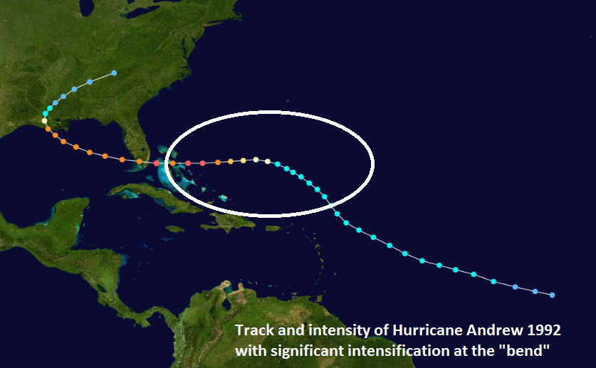 "The major intensification phase of Hurricane Andrew took place at the time of the ""bend"" (circled region) and this type of timing for strengthening may occur with Hurricane Dorian. Courtesy Wikipedia, NOAA"