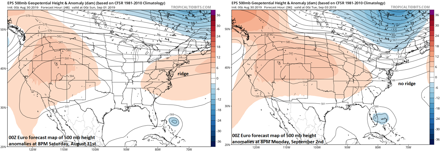 00Z Euro forecast maps at 500 mb for Saturday evening (left) and Monday evening (right) with a weakening of the high pressure ridge (shown in orange) to the north. Courtesy NOAA, tropicaltidbits.com