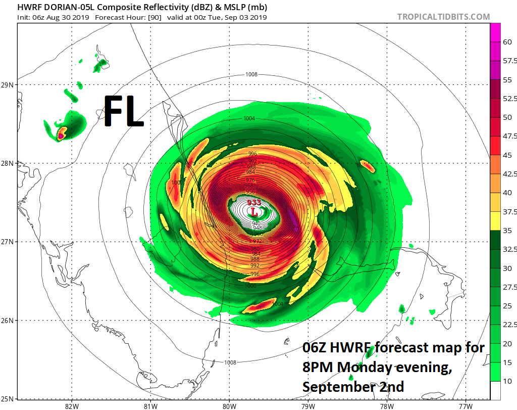 This is the forecast map of NOAA's main hurricane model called the HWRF that verifies on Monday evening at 8pm; courtesy NOAA, tropicaltidbits.com