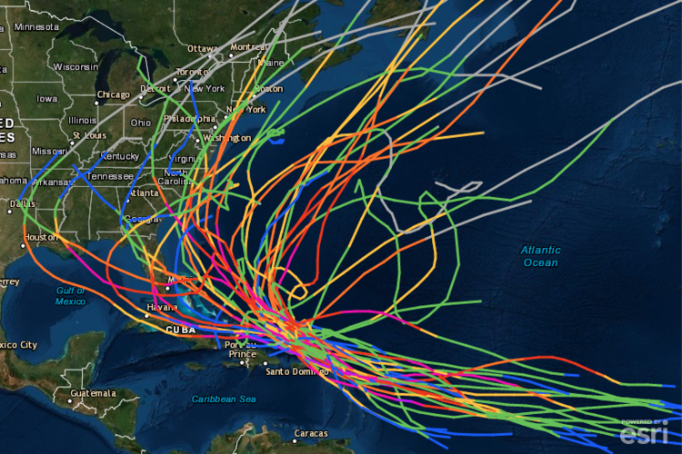A historical look at tropical systems in the same general vicinity of Hurricane Dorian suggests it is usually quite difficult to make it all the way west to the Florida Peninsula. More often than not, a tropical system in the same general location of Hurricane Dorian during the past couple of days turned northwest or north just as it approached the east coast of Florida. Courtesy NOAA, ESRI