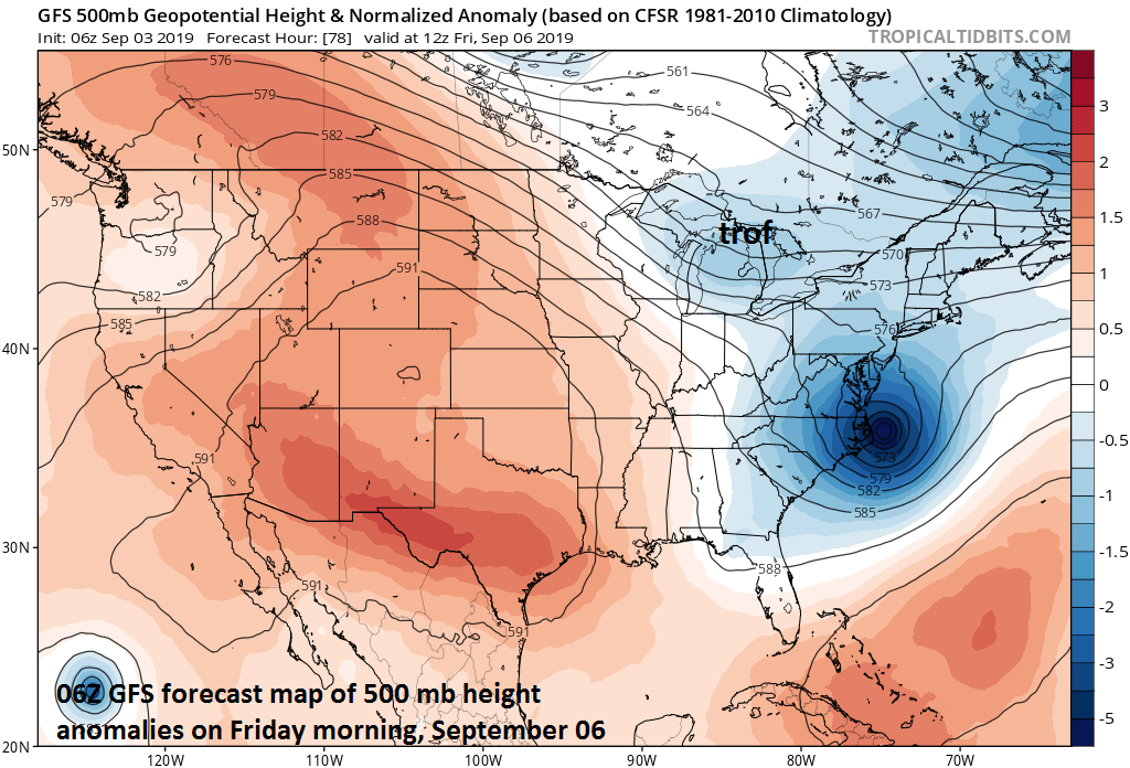 In response to an upper-level trough over the Great Lakes later this week, Hurricane Dorian should accelerate and turn northeastward and pass well to the east of the Mid-Atlantic region; courtesy NOAA, tropicaltidbits.com