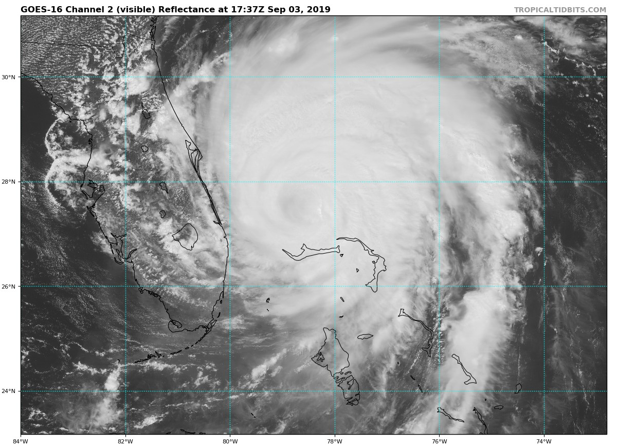 GOES-16 visible (channel 2) satellite image of Hurricane Dorian which has weakened over cooler waters to a category 2. Courtesy NOAA