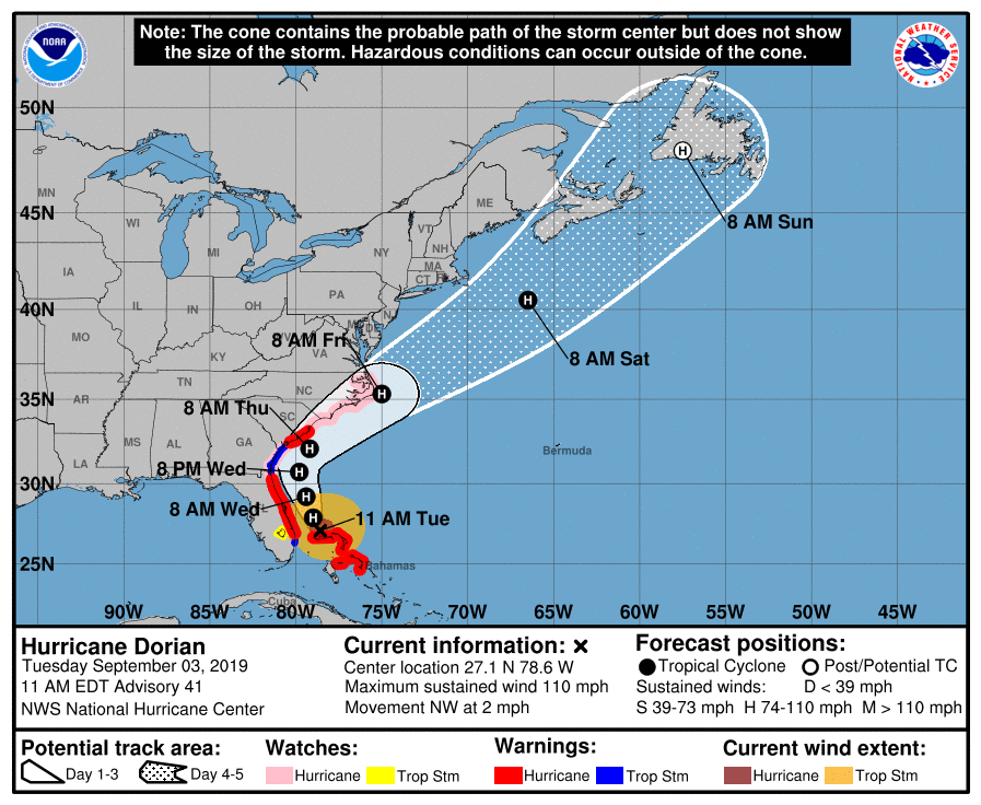 The official storm track of Hurricane Dorian by NOAA's National Hurricane Center (as of 11 AM).