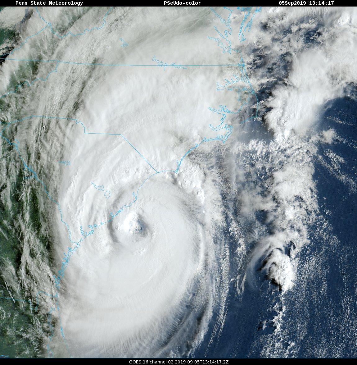 A close-up view of Hurricane Dorian as it moves slowly near the South Carolina coastline. Courtesy NOAA, Penn State ewall
