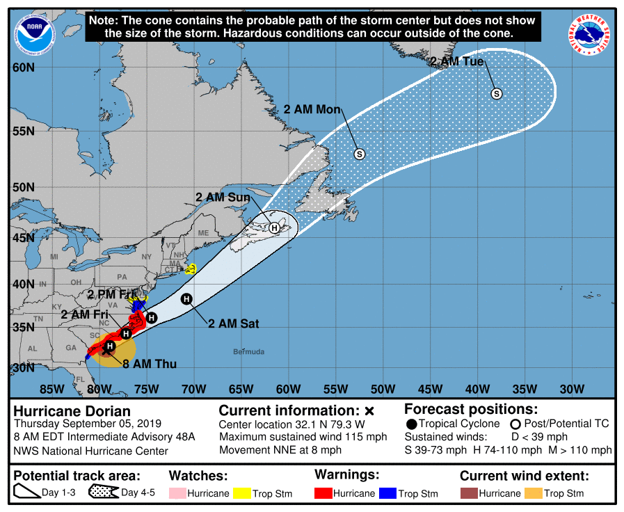 """The latest """"official"""" storm track for Hurricane Dorian as predicted by NOAA's National Hurricane Center."""