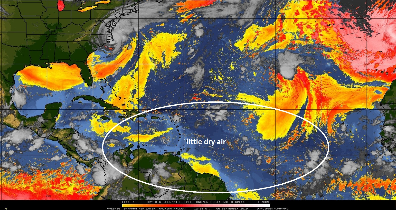 """A couple of weeks ago there was a widespread dry (Saharan Desert) air mass over the tropical Atlantic Ocean, but now there is little. The tropical wave in the eastern Atlantic (at right edge of circle) has an """"atmospheric opening"""" to trek westward in coming days towards the Caribbean Sea. Courtesy NOAA, CIMSS Wisconsin"""