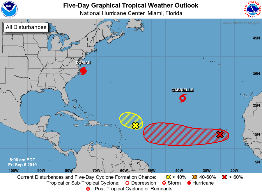 TS Gabrielle appears to be no threat to land, but the next system in the eastern Atlantic (red path shown) may very well become an issue in a week or so in what appears to be an ongoing active tropical season; map courtesy NOAA/NHC
