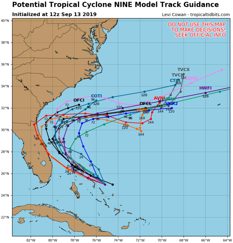 General agreement by numerous computer forecast models on the future track of the tropical system now over the Bahamas; courtesy NOAA, tropicaltidbits.com