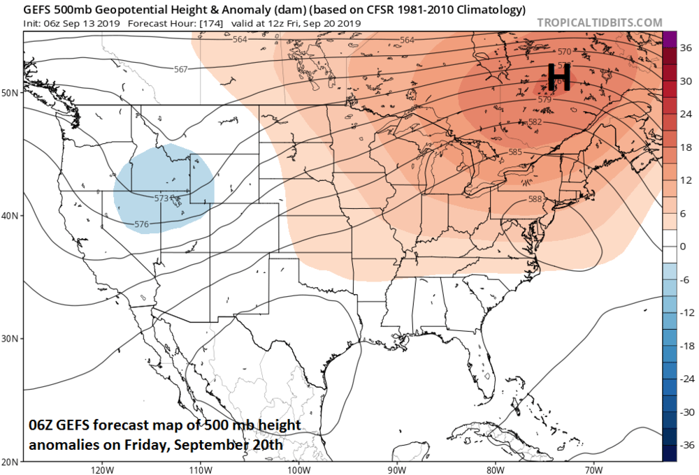 High pressure ridging across southeastern Canada is always a red flag this time of year in terms of the potential for tropical activity near the US east coast; courtesy NOAA, tropicaltidbits.com