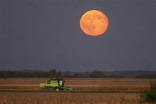 Image of a full (harvest) moon; courtesy AP