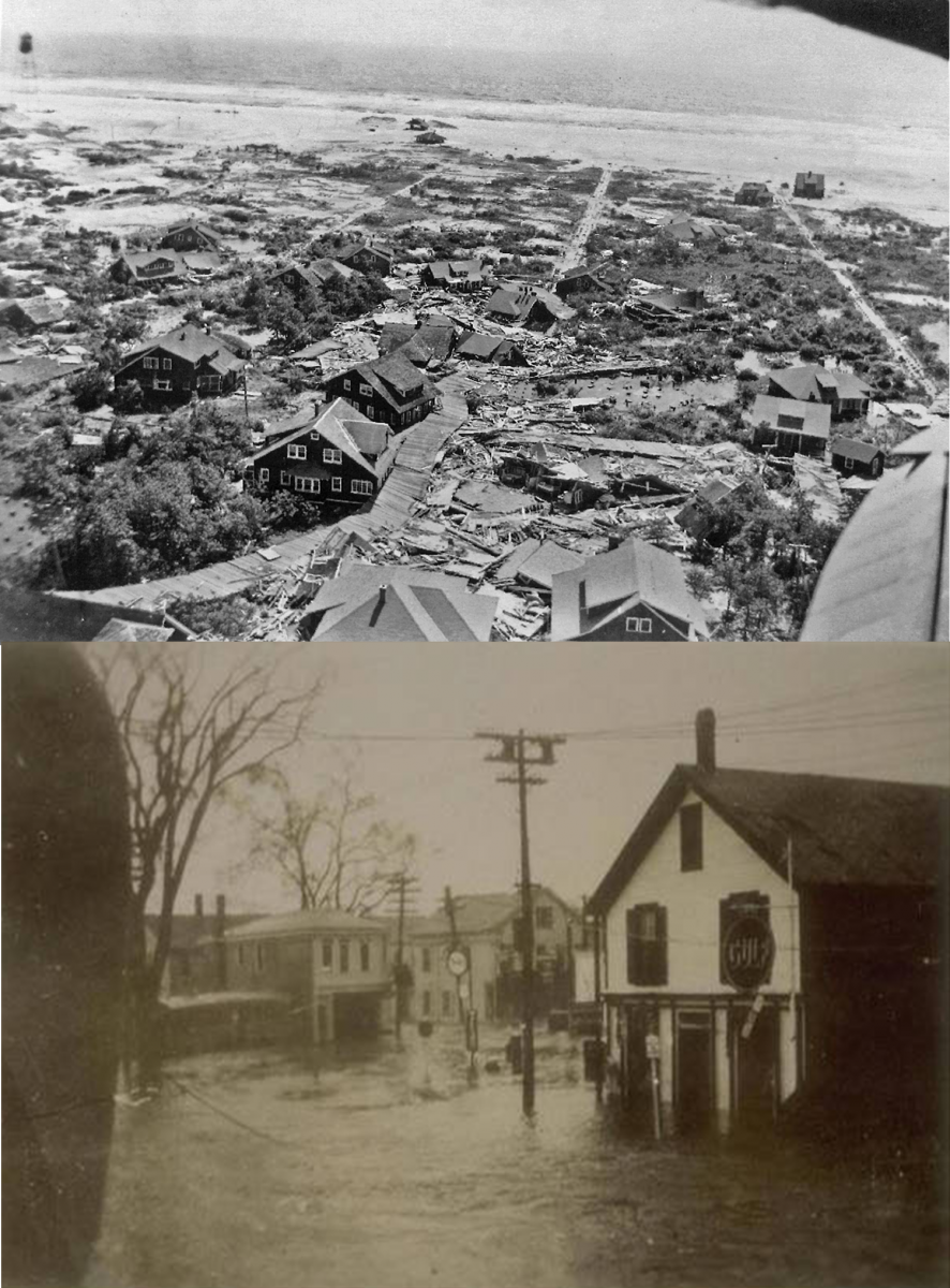 Saltaire, NY flooding damage (top); Mystic, CT flooding damage (bottom)