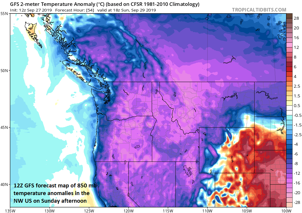 12Z GFS forecast map of 850 mb temperature anomalies for Sunday afternoon in the NW US with very chilly air for this time of year; courtesy NOAA, tropicaltidbits.com