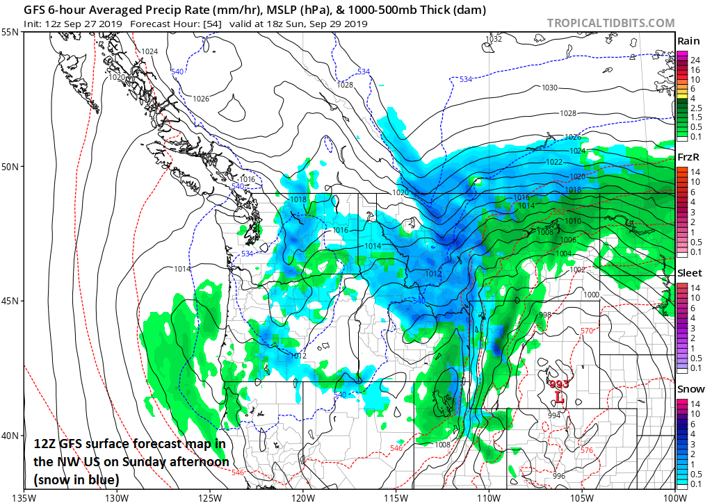 12Z GFS surface forecast map for Sunday afternoon in the NW US with snow shown in blue; courtesy NOAA, tropicaltidbits.com