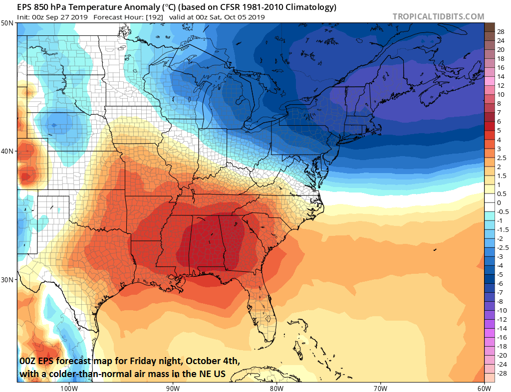 Some of the cold air associated with the weekend winter storm in the NW US will trek east to the NE US by next weekend; courtesy tropicaltidbits.com, ECMWF