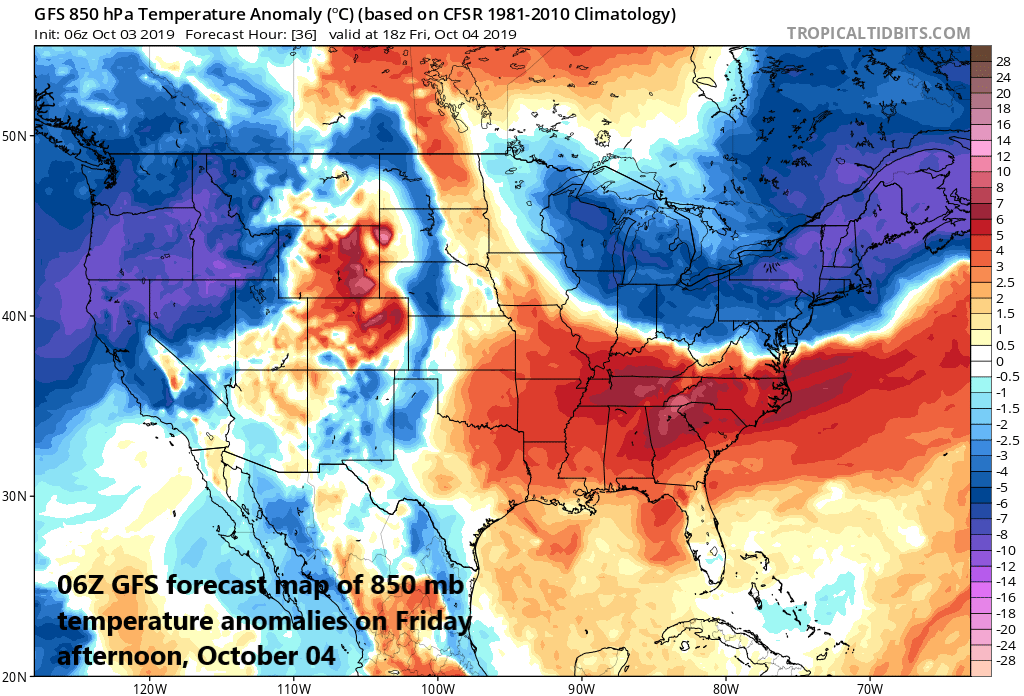 Much cooler-than-normal air will be experienced on Friday throughout the Mid-Atlantic and NE US; map courtesy NOAA, tropicaltidbits.com
