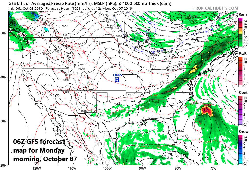 There is the potential for a significant rain event in the I-95 corridor in the late Sunday night/Monday time period; map courtesy NOAA, tropicaltidbits.com