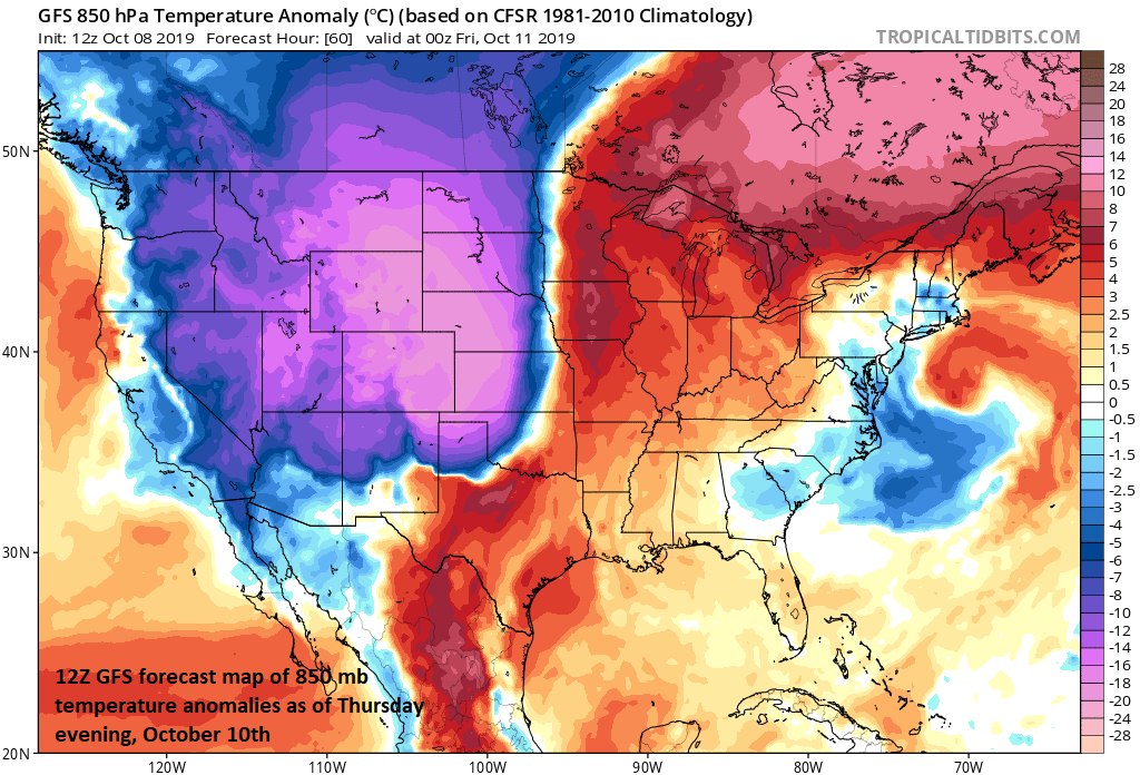 A bitter cold blast for early October is headed to the region from the Rockies to Northern Plains and there will be accumulating snow as well in coming days; courtesy NOAA, tropicaltidbits.com
