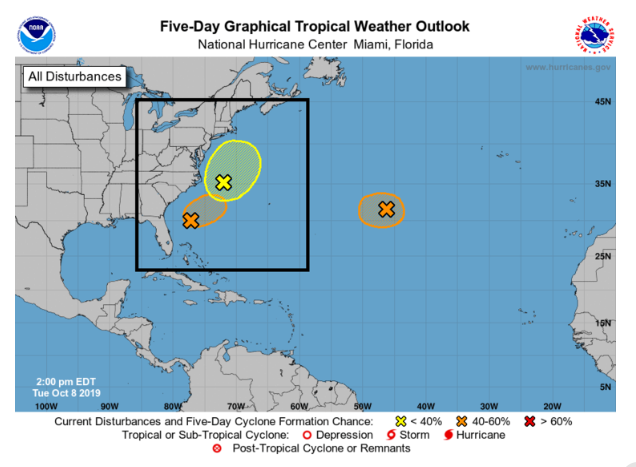Low pressure has formed along a stalled out frontal boundary zone (yellow in boxed region) and a tropical-looking disturbance has formed off the South Carolina coastline (orange in boxed region). These systems may merge into a powerful storm over the northwestern Atlantic in coming days. Courtesy NOAA/NHC