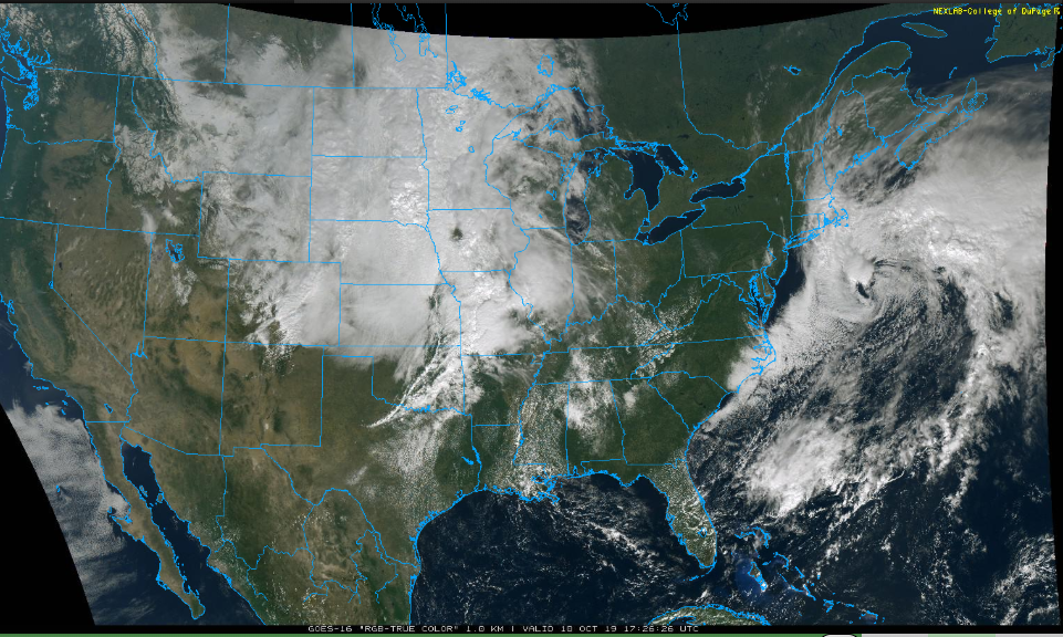An active pattern across the US is resulting in a powerful storm in the Rockies and another off the Mid-Atlantic coastline; image courtesy NOAA, College of DuPage