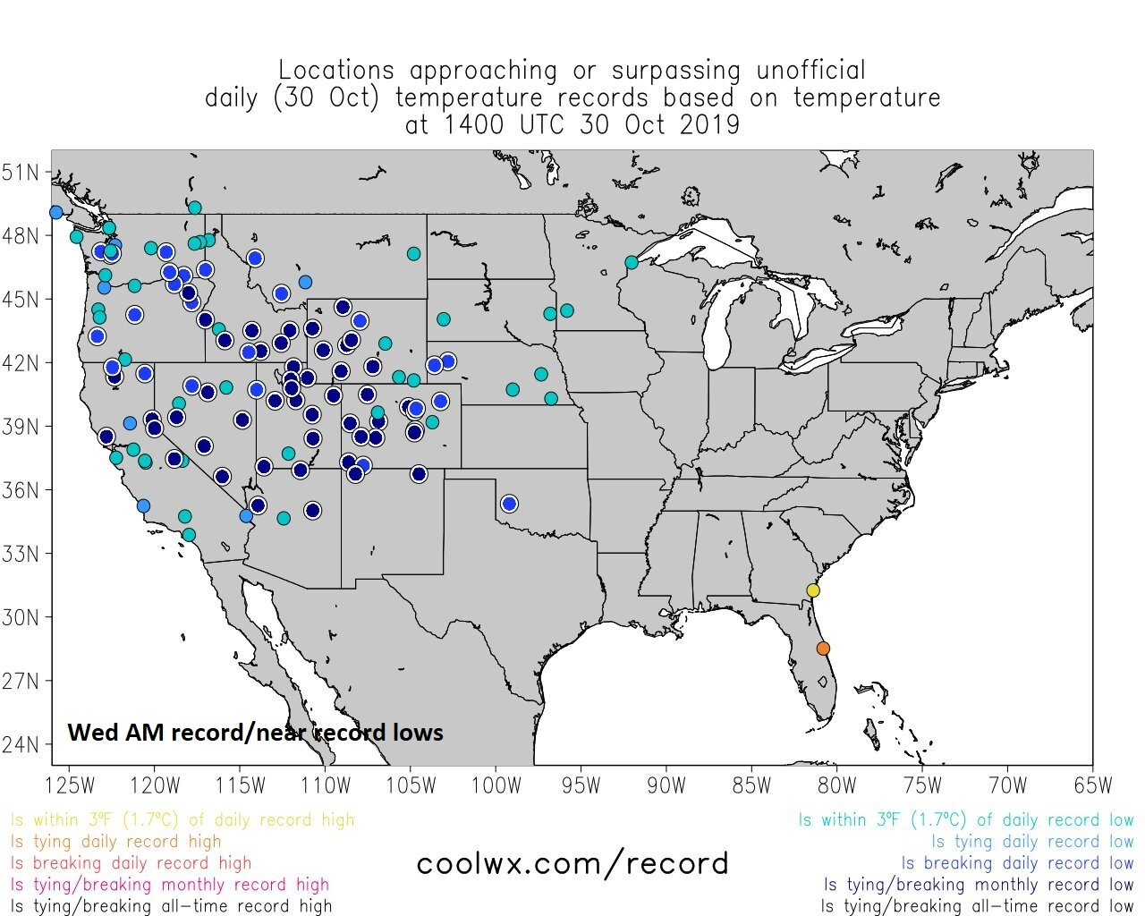 Record or near record lows have been prevalent during the past few days across the western and central US with several sites recording their lowest temperatures ever for October (black circles); courtesy NOAA, coolwx.com