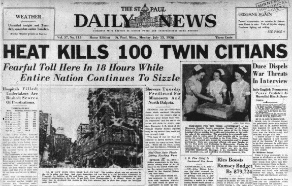 The front page of the July 13, 1936, issue of the St. Paul Daily News