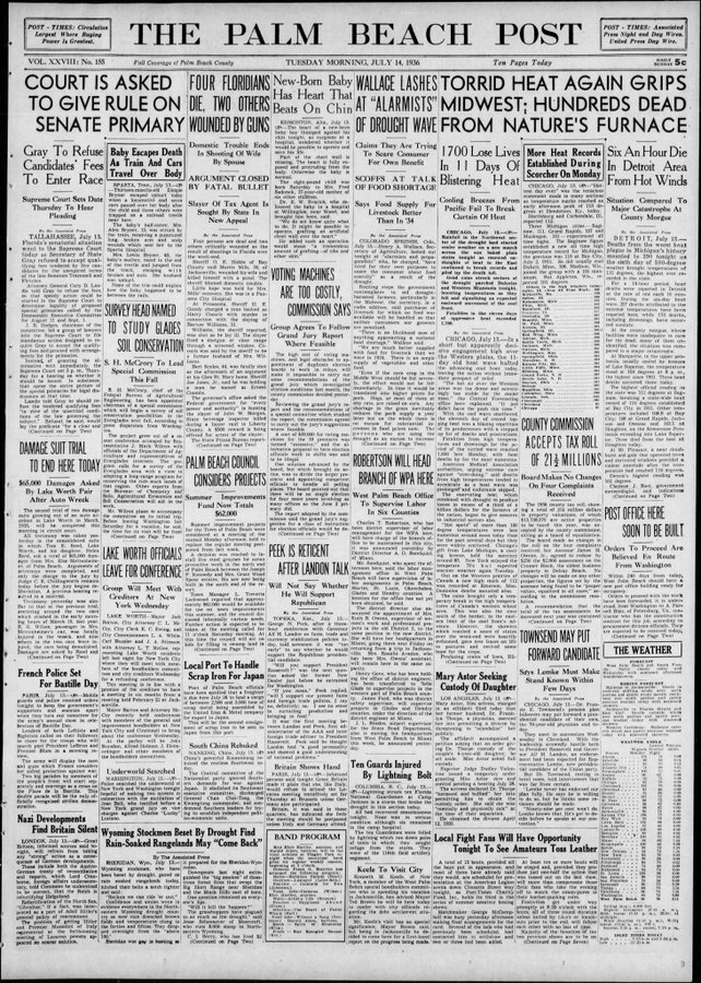 Another newspaper headline on the deadly heat wave in mid-July (July 14, 1936)