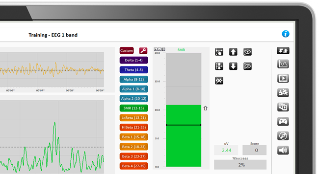 EEG training screen with BioTrace+ software