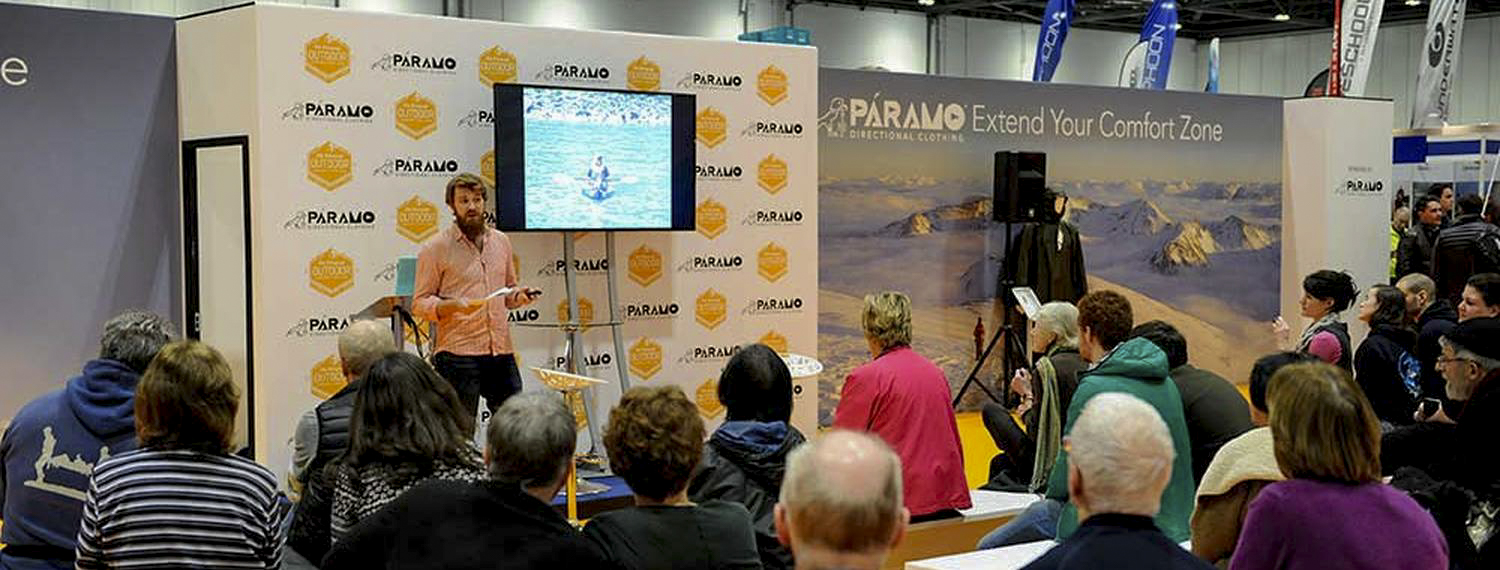Olie sharing his stories of the Amazon - Image courtesy of Telegraph Outdoor Adventure & Travel Show