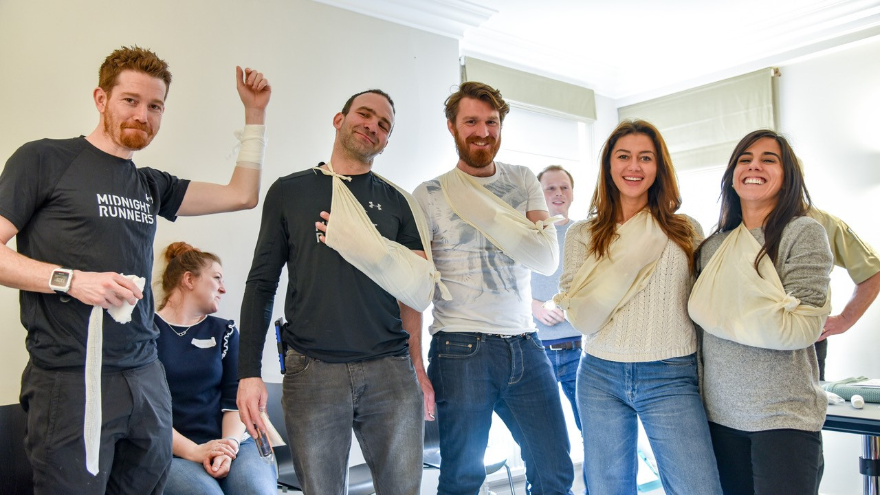 The walking wounded show off the treatment they received from fellow students