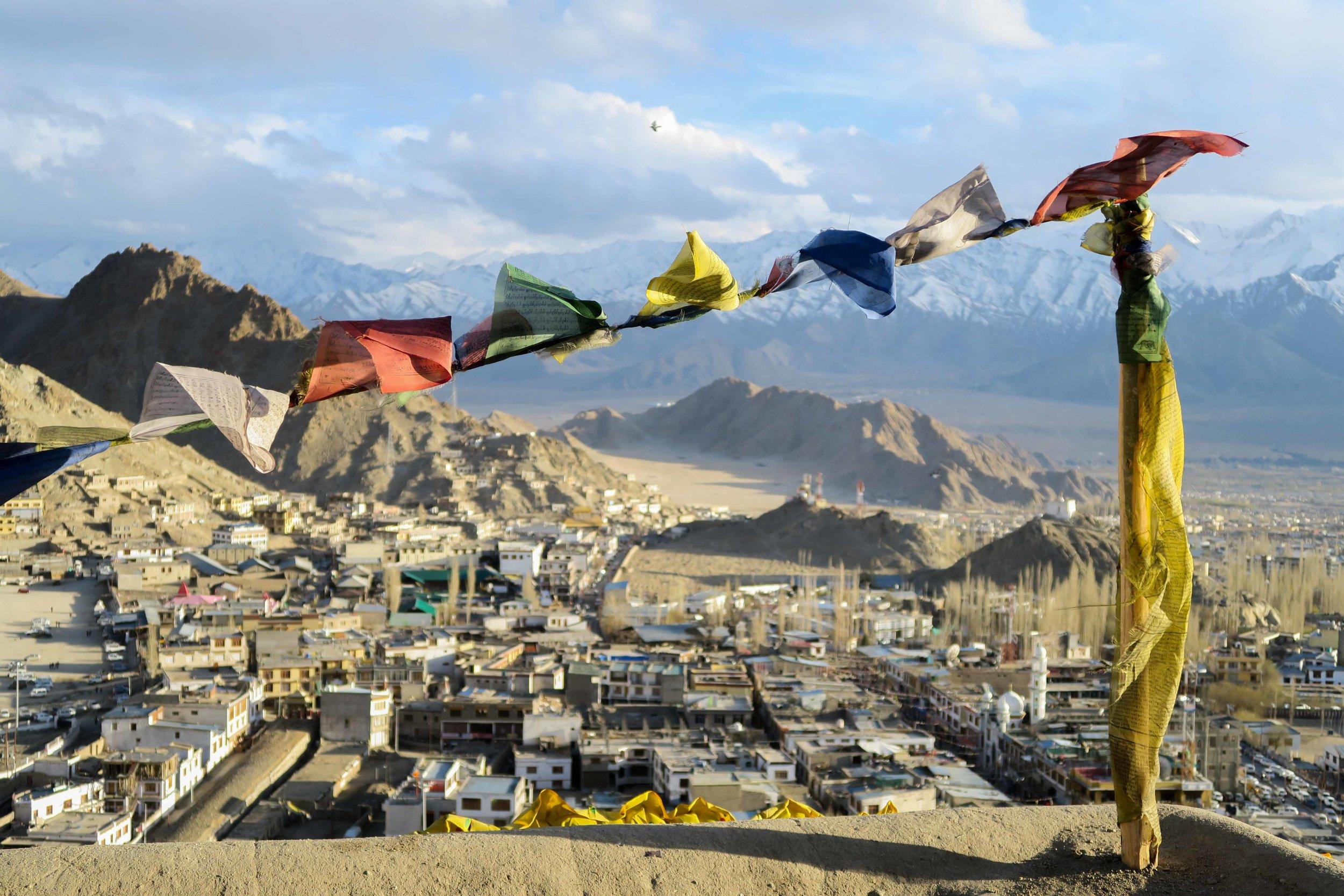 Prayer flags overlooking Leh