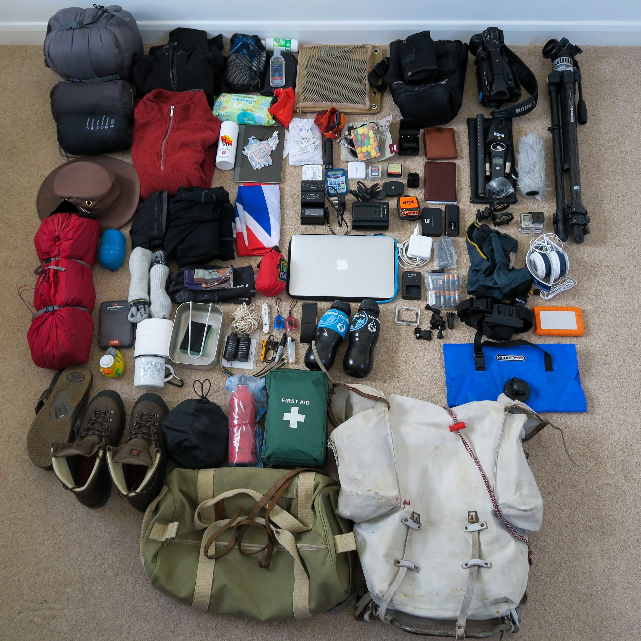 All my kit ready to be packed