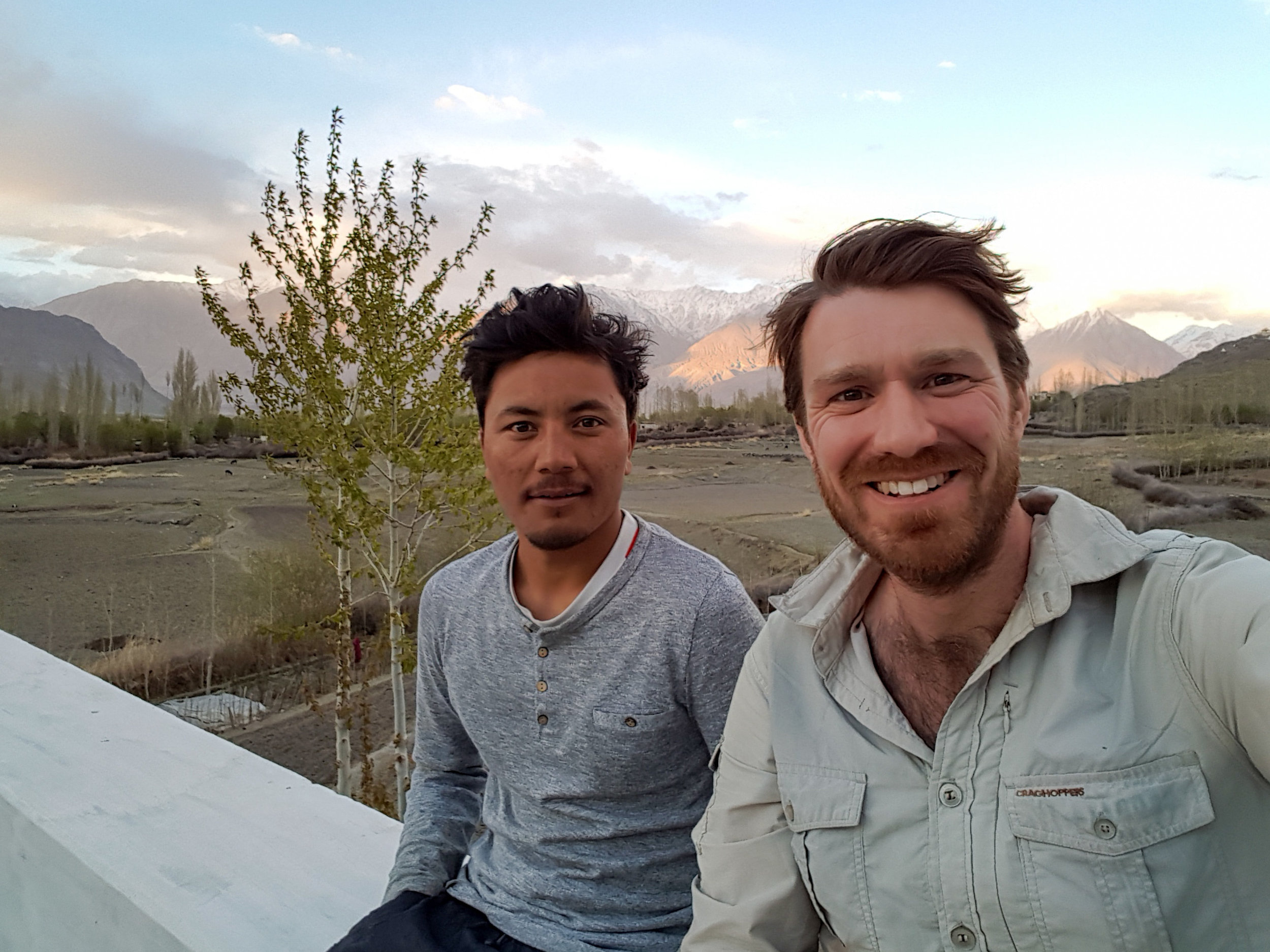 Namgyal and Olie enjoy the sunset in Diskit