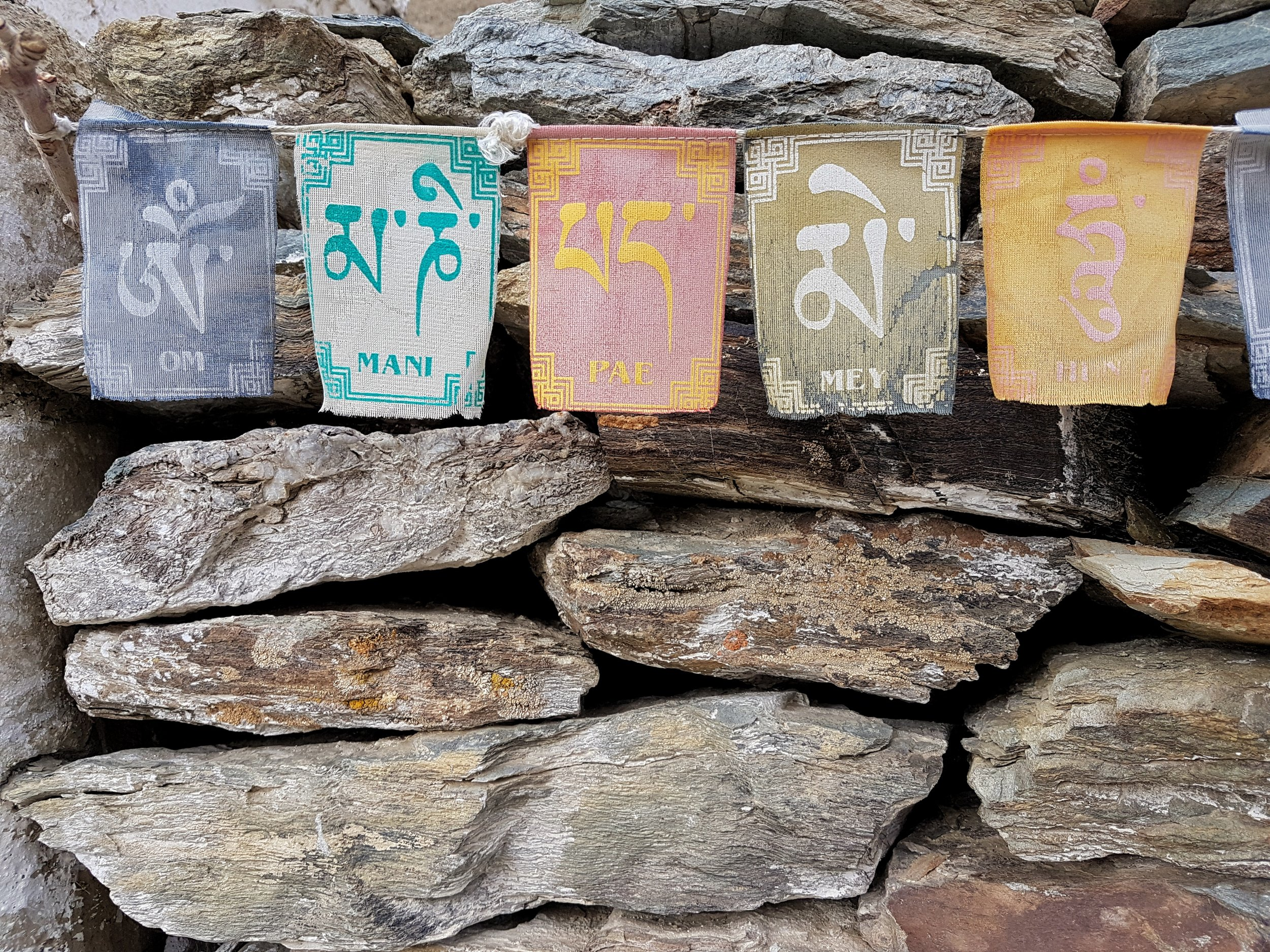 "Buddhist flags of good luck - ""Om Mani Pae Mey Hun"""