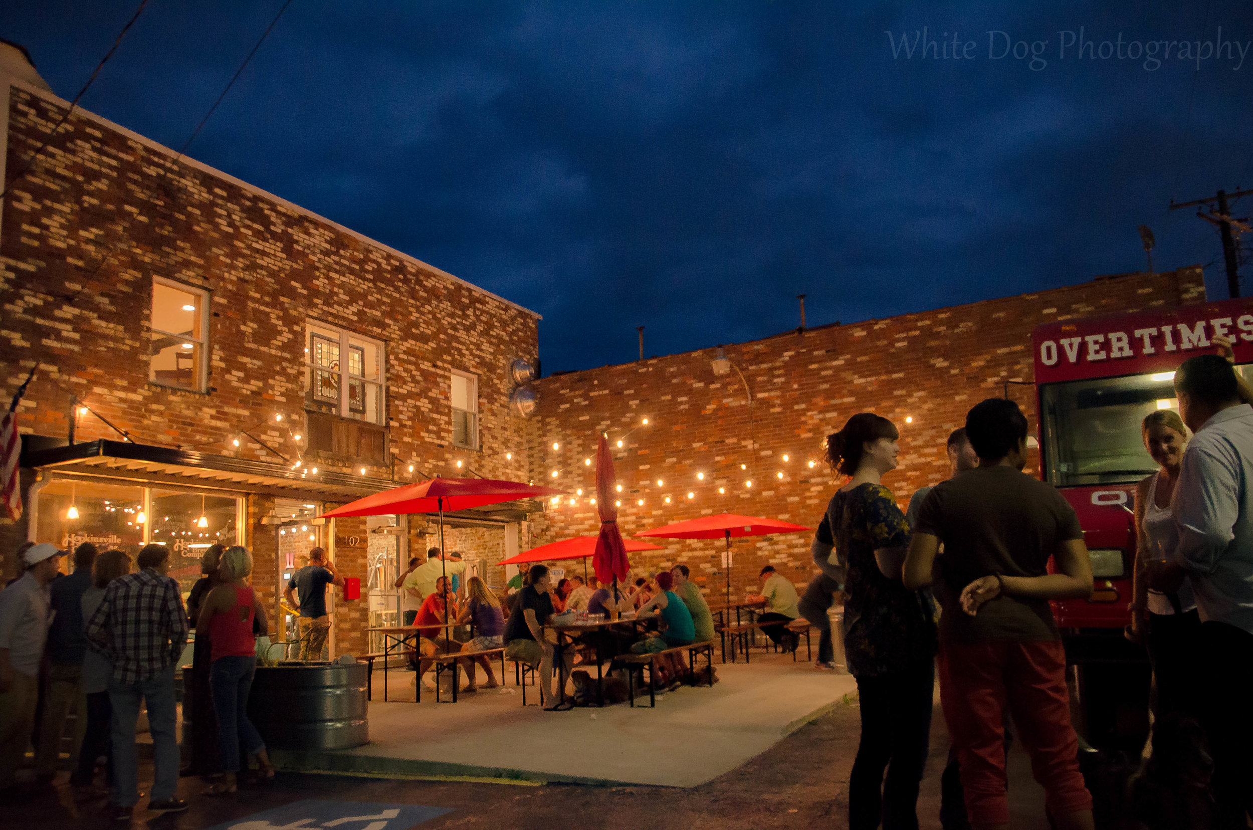 We have an outdoor patio that is perfect to share a pint with your friends on a cool night. Thanks to  White Dog Photography .