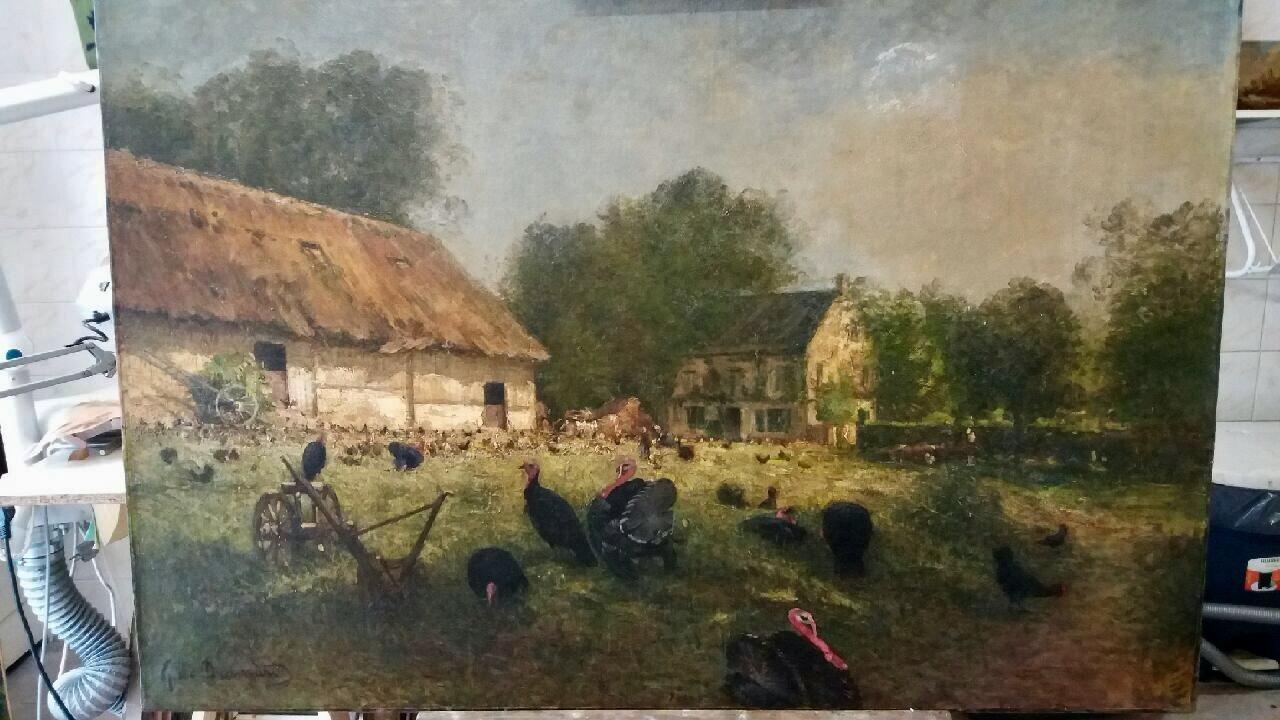Peinture sur toile fin XIXe siècle : la bassecour