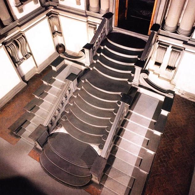 ....Staircase in the Laurenziana Library..Scalinata della Biblioteca Laurenziana....