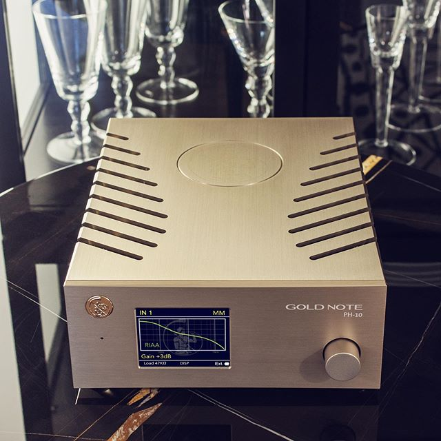 """Gold Note makes average looking gear like Lamborghini builds average looking cars. The PH-10 is a work of art. From the front panel's TFT display to the raked tiger-claw vents in the chassis, this is the sexiest phono stage that I've ever reviewed. Combined with their $1100 USD PSU-10 outboard A/C power supply, in this price range, Gold Note's $2,600 USD flagship phono preamp combo is the best of the best. Nothing — repeat… nothing — at this price point exists that comes equipped with so many different impedance and gain settings, EQ curves, and future-proof upgrade paths. With the PH-10, Gold Note has knocked it out of the park."" DOUGLAS BROWN #mygoldnote ⠀⠀ #goldnote#goldnoteitaly#madeinitaly#craftsmanship#italianstyle#hifi#electronics#designpassion#audiophile#elegance#luxury#florence#instahifi"