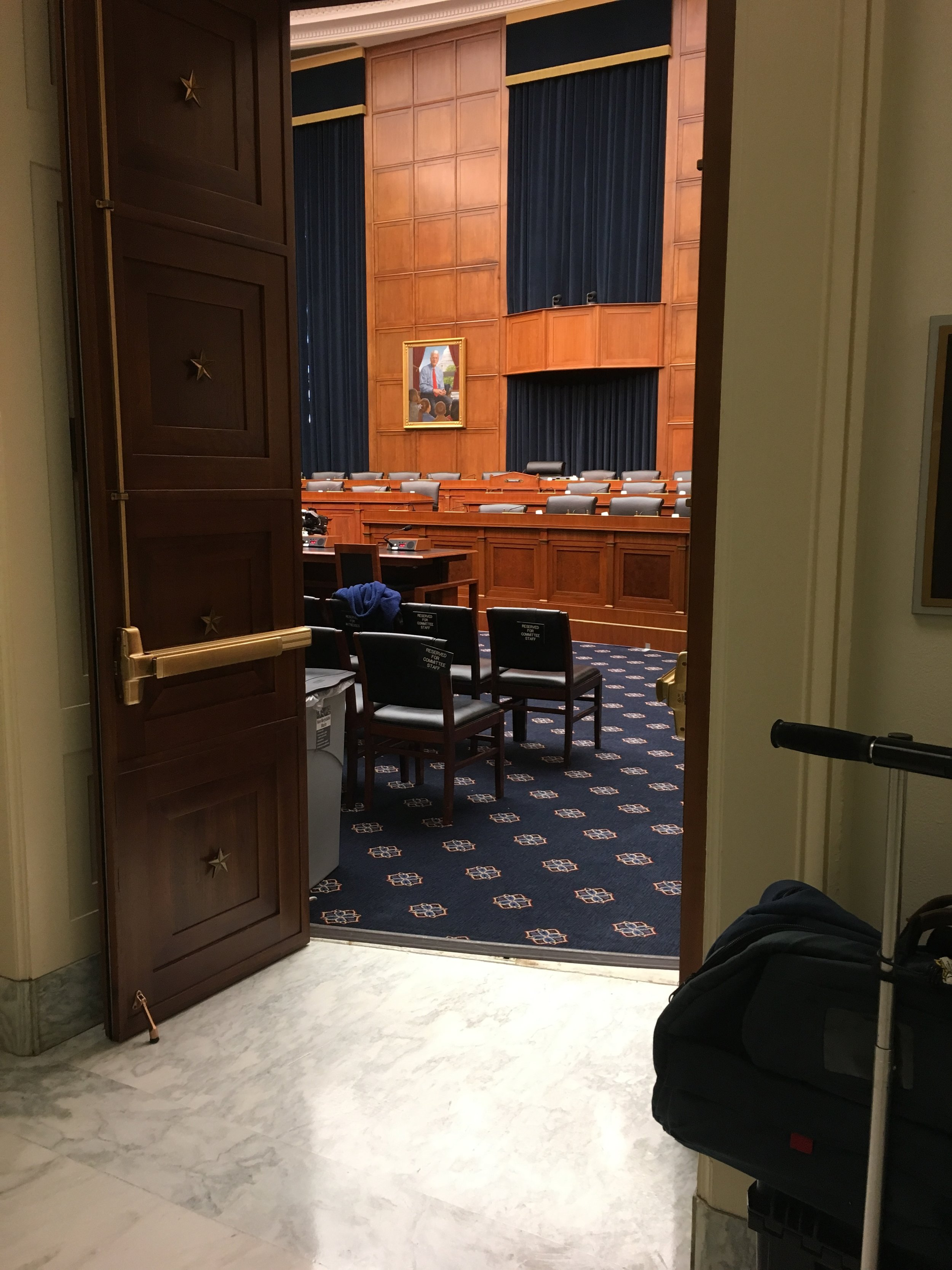 A shot from the outside of the hearing room before we were allowed in.