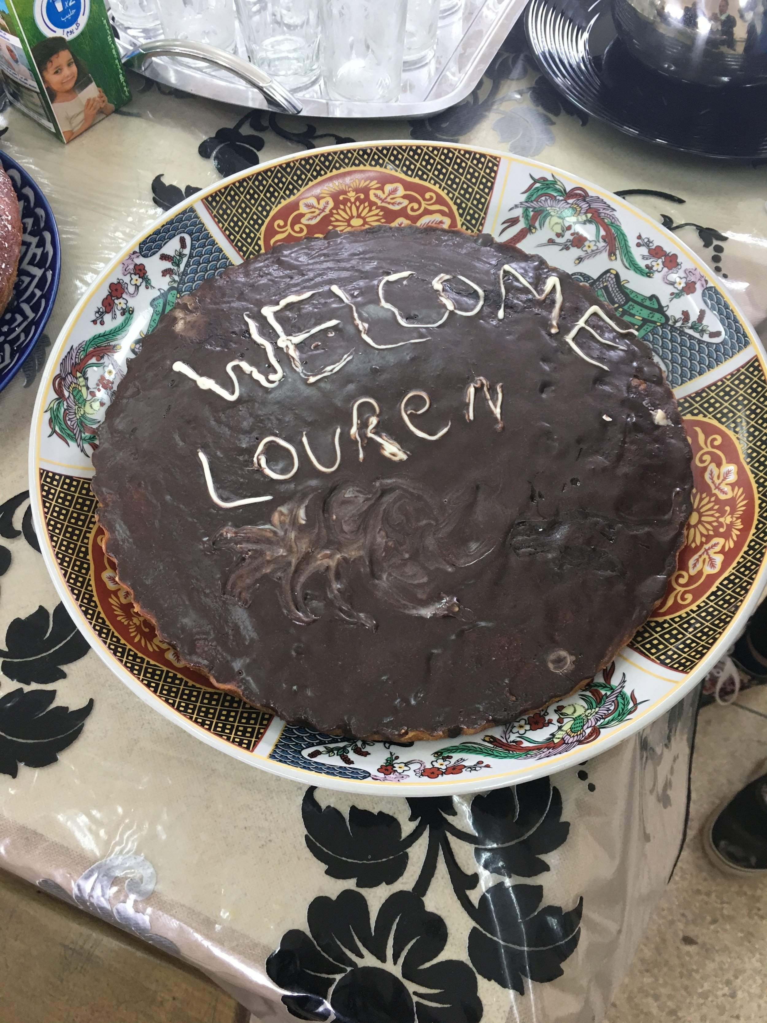 Students at a middle school had a small celebration for us. They baked a cake with my name on it! Thanks to our new friend Adil for putting this together.