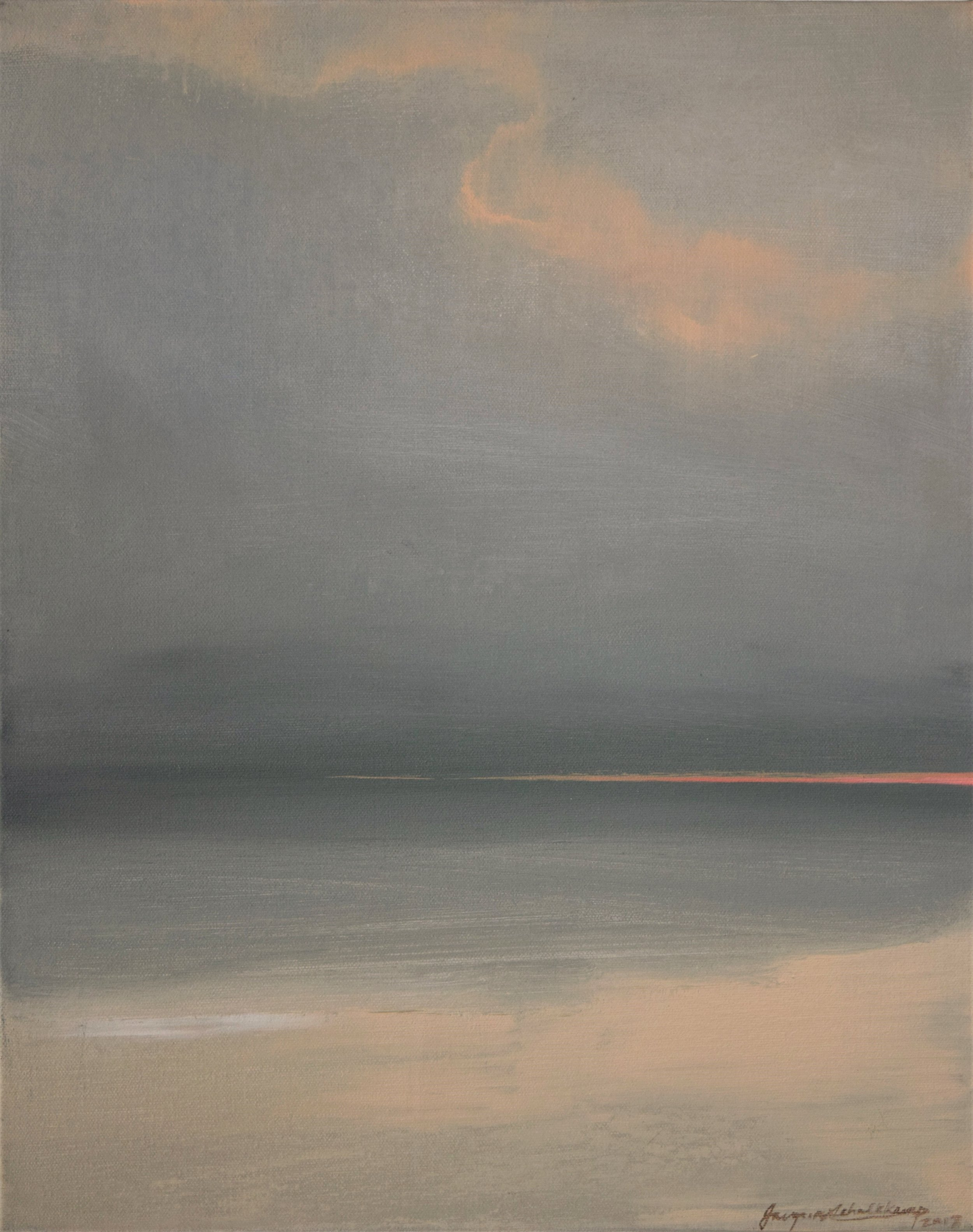 "Sun-less Set  acrylic on canvas  20""l x 16""w x 1.5"""