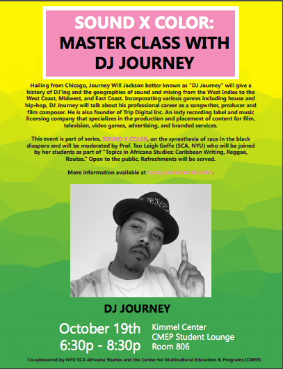 SOUND X COLOR: Master Class with DJ Journey, October 19, 2017