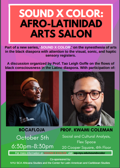 sound x color: afro-latinidad arts salon, October 5, 2017