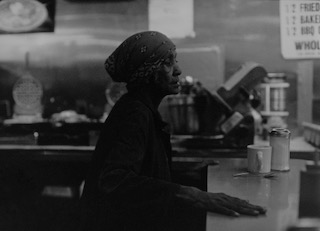 Ming Smith,  Pan Pan Lady (Betty) , Harlem, NY, ca 19xx, 35mm black and white photography, Vintage gelatin silver print, 54 x 40 in. (framed)