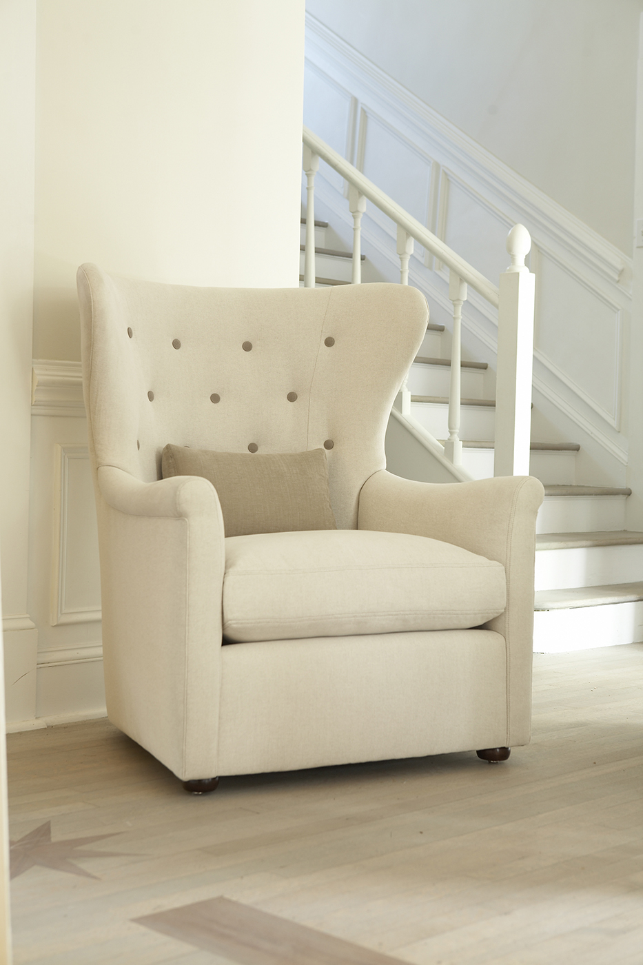 """My favorite chair at the moment: the Faye Wing chair by Verellen. I love the casual yet sophisticated look of the brand.""""Belgian Conception. American Perfection."""" We are really excited to be the first and only design company to offer Verellen in the Sacramento area."""