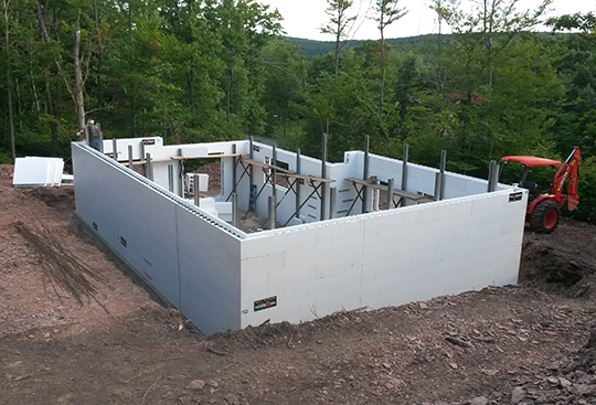ICF (Insulated Concrete Form)construction technology is gaining more and more interest among homeowners due to its structural strength, longevity, energy efficiency, and cost effectiveness.ICF can achieve very long open spans which allows open concept spaces at a scale that would not be possible with regular stick frame construction. It can be used in new construction as well as additions.