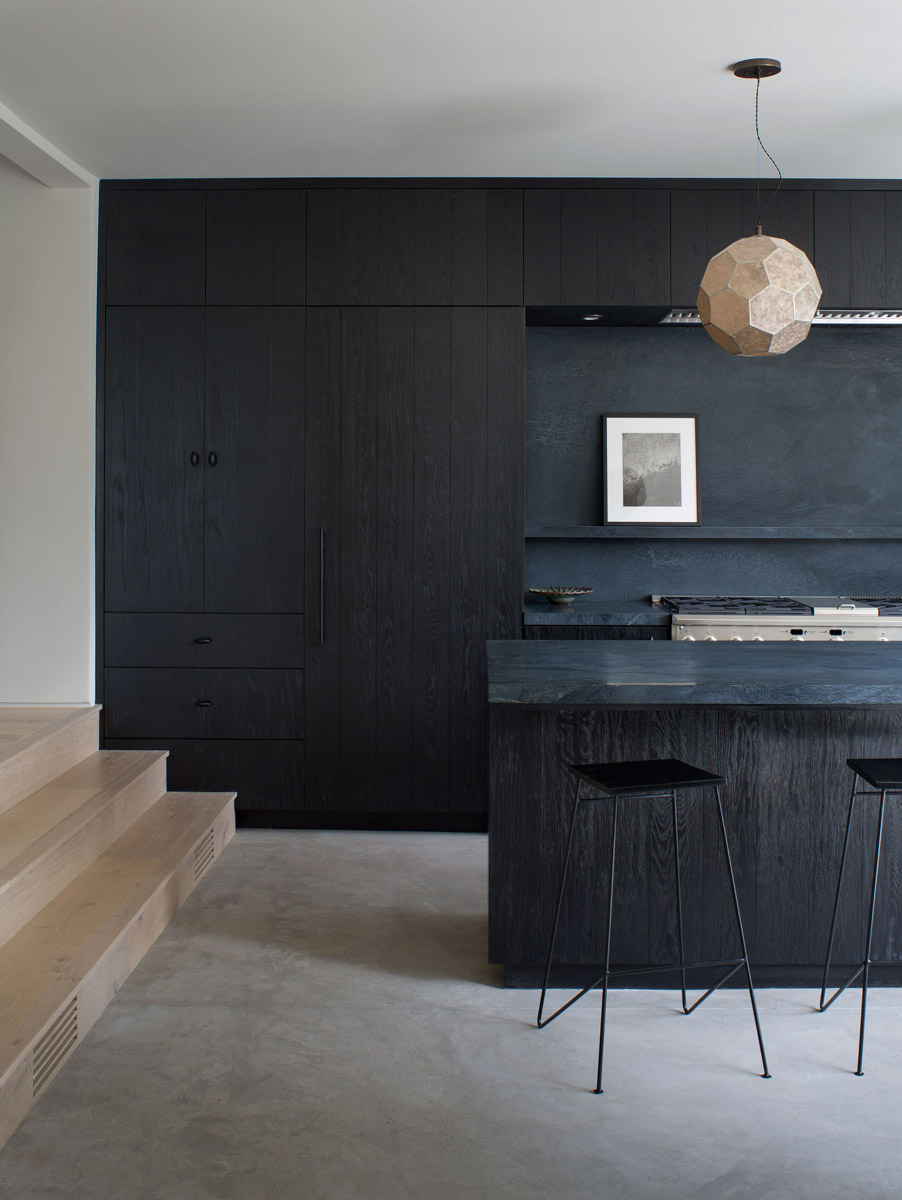 Black - Black has officially made its comeback. And we are sure it's here to stay. You are guaranteed to find this color on cabinets, counters, doors, trim, tile, you name it! Paired with a light or neutral palette, black has the ability to make the space look fresh and sharp. People have feared that this color may be too harsh or will make the space feel small, but because of it's dark, rich nature, it can give provide a rich and luxurious appeal. It's a timeless color that can mix well with anything.Project in Hancock Park, CADesign by Simo Design