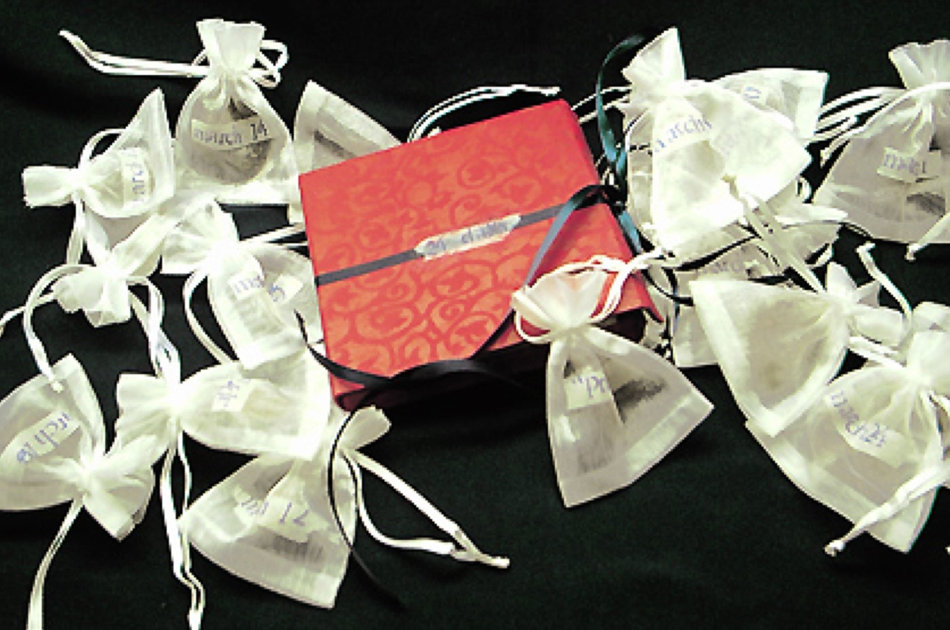 """Book as exhibited in handmade book box with hair """"party favors"""""""